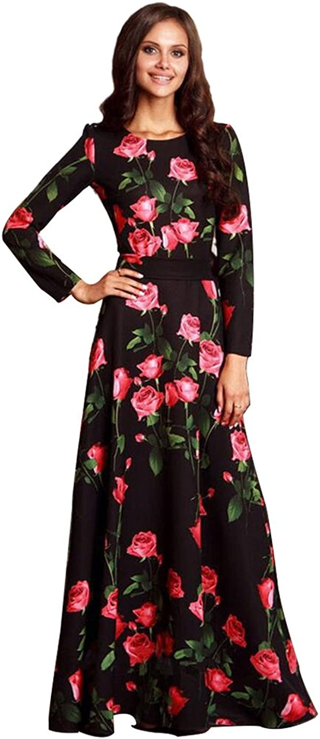LZZNA Women's Casual Floral Printed Long Maxi Dress S-3XL