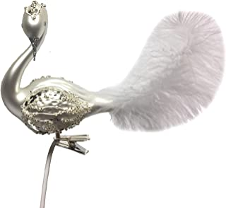 Pinnacle Peak Trading Company White Swan with Curved Head Feather Tail Czech Glass Christmas Clip On Ornament