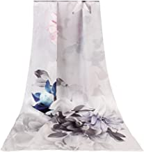 Women's 100% Mulberry Silk Long Scarf For Gift Hair Ladies Shawls Floral And Butterfly Scarf