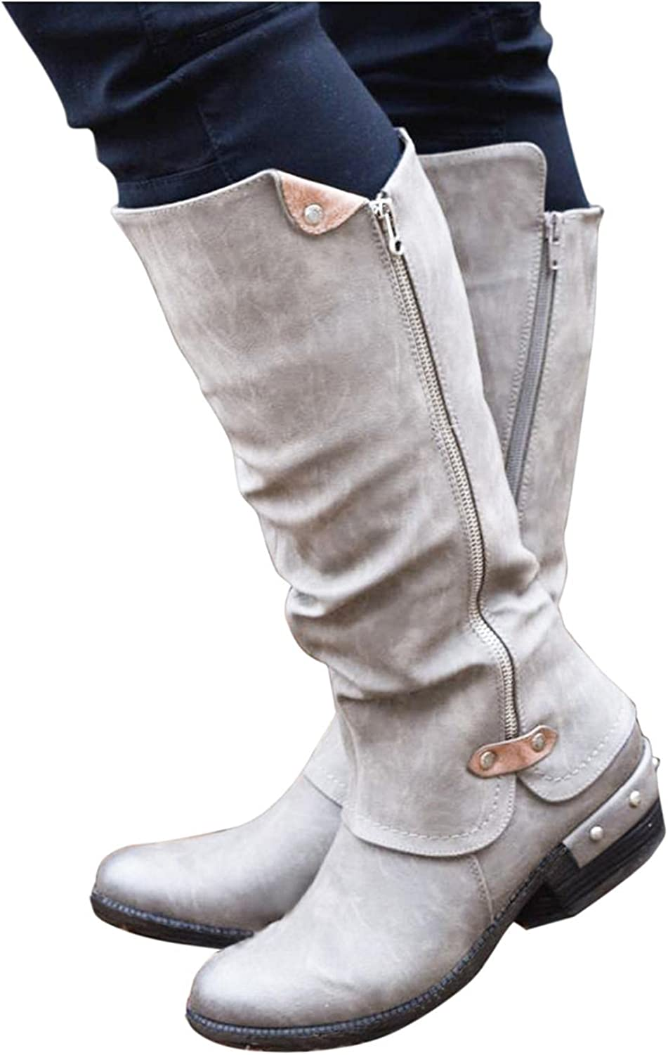 Gibobby Boots for Women with Heel Round Toe Mid-Calf Booties Fashion Cowboy Boots Low Heel Combat Boots Casual Western Shoes