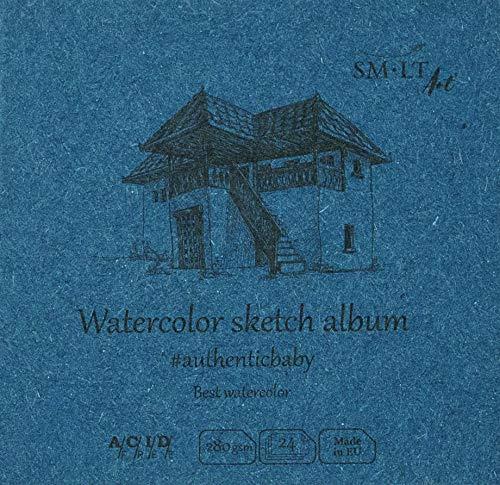 SMLT FB-24(280)/9 Authentic-baby - Bloc de acuarela cuadrado (tamaño pequeño, papel blanco natural, 280 g/m², 24 hojas)