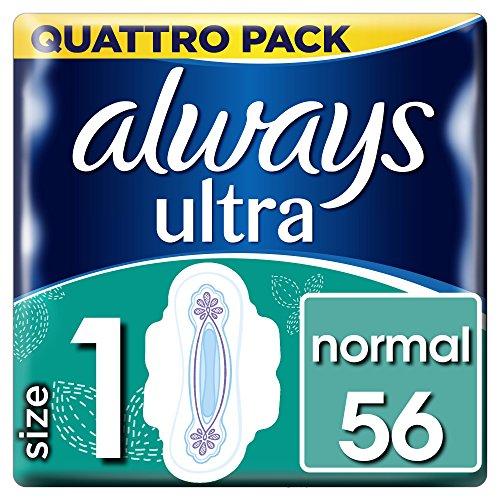 Always Ultra Normal (Größe 1) Damenbinden mit Flügeln, 56 Stück