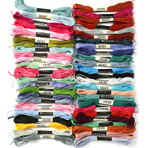 SANON Embroidery Thread Cross Stitch Cotton Threads 50 Skeins Polyester Embroidery Floss Darning Yarn for Friendship Bands, Cross Stitch, Accessories