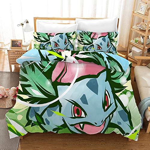 Duvet Cover Single Bed 135 x 200 cm Bedding Microfiber 3-piece set with 2 Pillowcases 50 x 75 cm with Zipper Pokemon printing Duvet Cover set