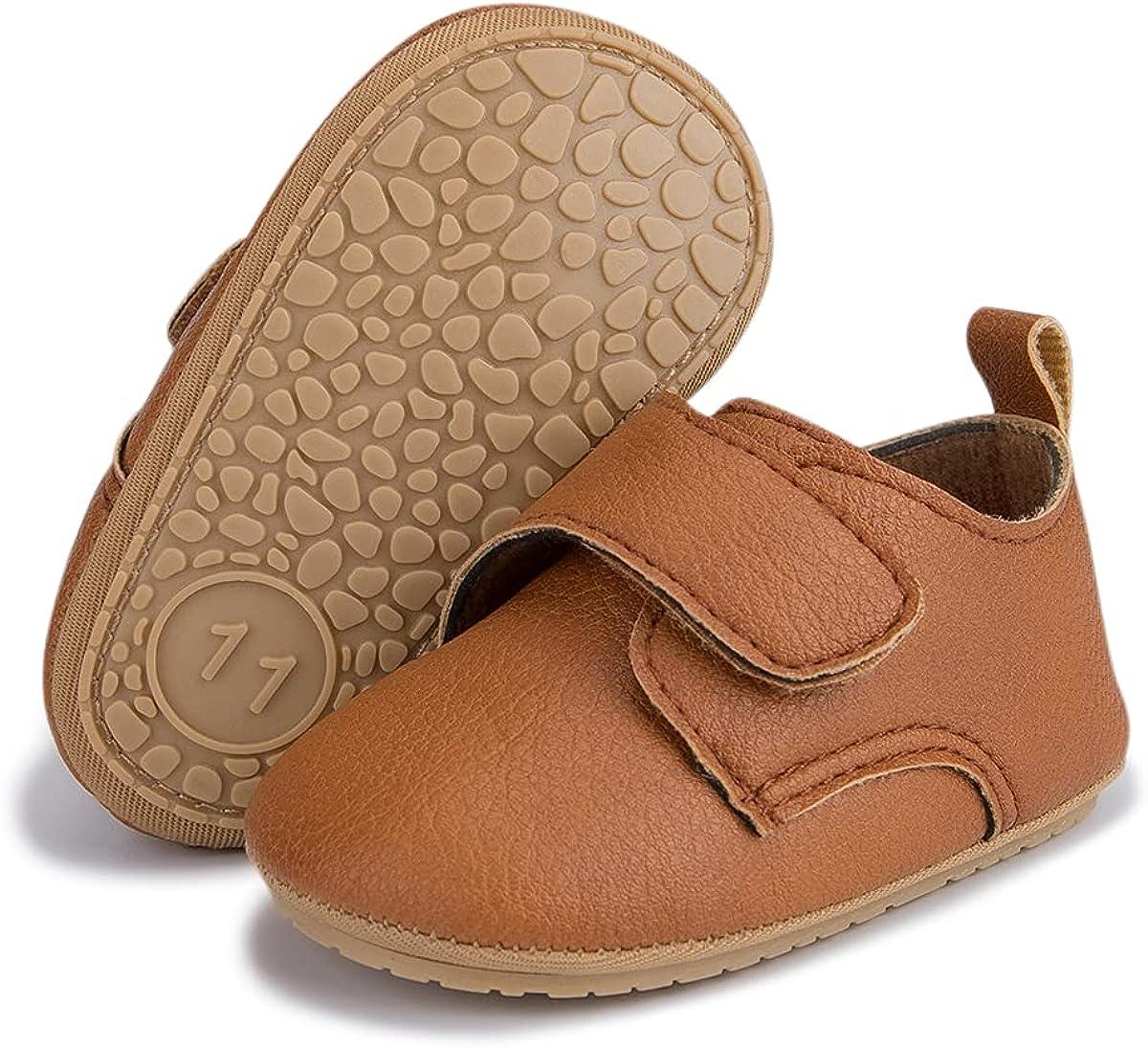 HsdsBebeBabyBoysGirlsOxfordShoesPULeatherSoftRubberSoleSneakersAnti-SlipToddlerAnkleBootsInfantWalkingShoes Moccasins