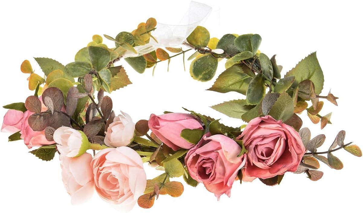 DDazzling Toddler Flower Crown Girls Vintage Leaf Floral Crown Adutls Flower Wreath with Adjustable Ribbon