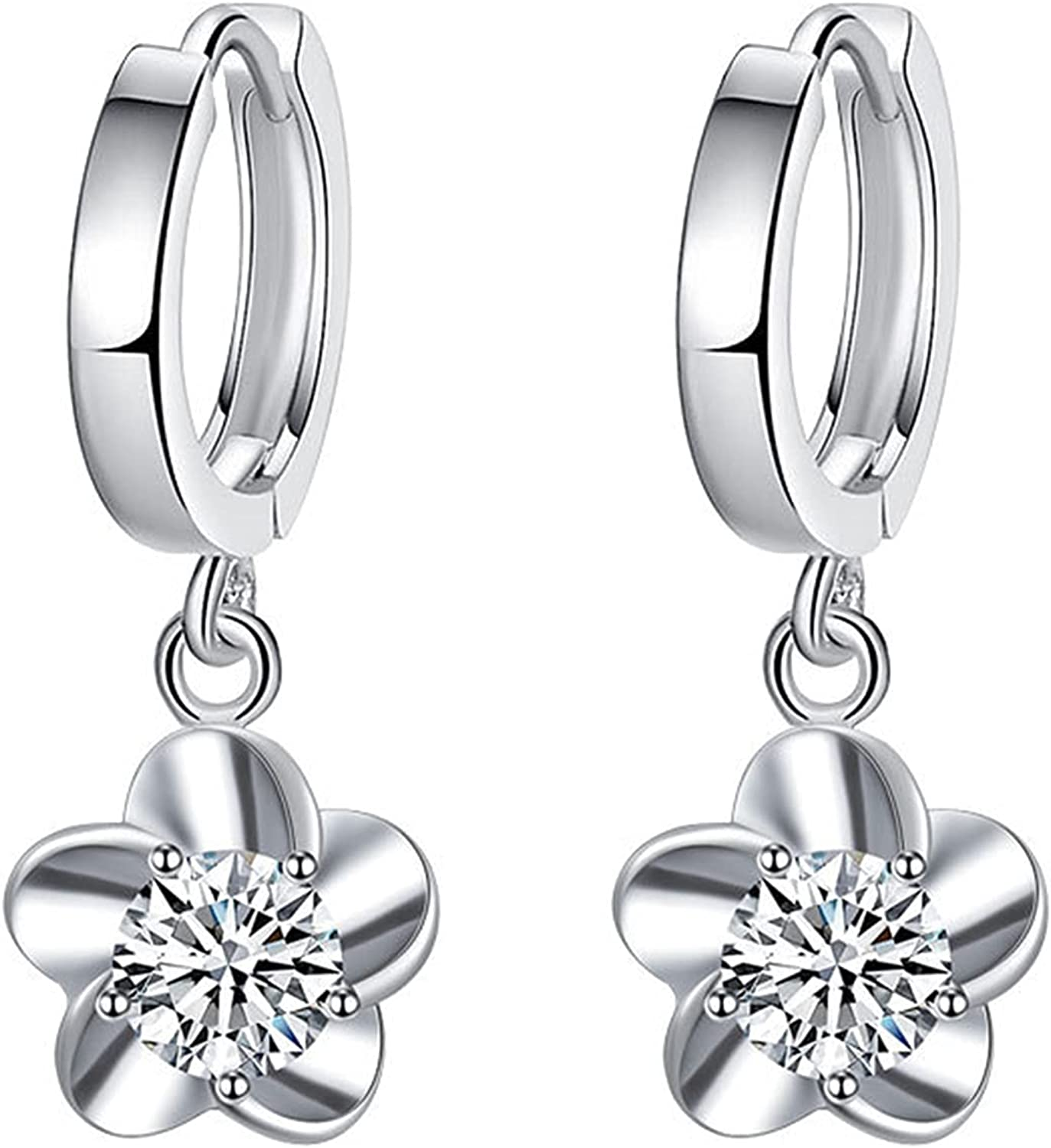 925 Silver Plated Charm Small Hoop My Flower NEW before selling online shop ☆ Tiny Flash Earrings