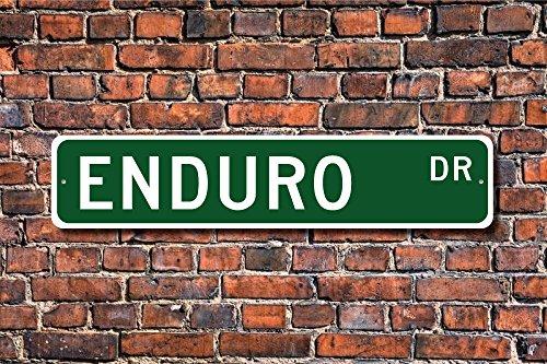 Enduro Schild Enduro Fan Cross Country Motorrad Race Enduro Geschenk Motorrad Fan Art Wand Schild DEKO Post Street Sign 45x 10cm