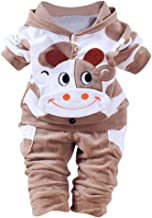 Toddler Baby Girl Boy Clothes 2 Pcs Sets 0-24 Months,Lovely Cartoon Cows Warm Clothing Hooded Tops and Pants Outfits Set