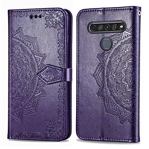 Bear Village Hülle für LG K61 / Q61, PU Lederhülle Handyhülle für LG K61 / Q61, Brieftasche Kratzfestes Magnet Handytasche mit Kartenfach, Violett