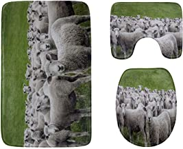 Sheeps in A Meadow On Green Grass Bathroom Rug Mats Set 3-Piece,Soft Shower Bath Rugs,Contour Mat and Toilet Seat Lid Cove...