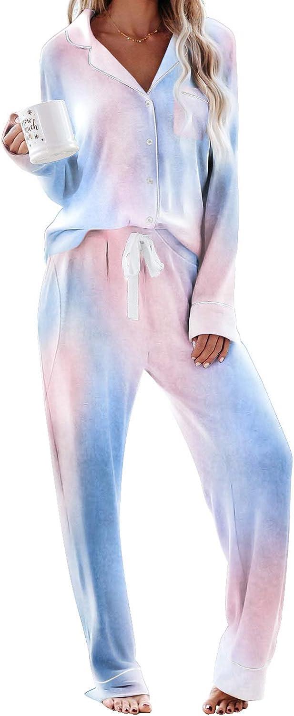Happy Sailed Women Tie Dye Printed Button Down Tops Drawstring Pants Pajamas PJ Sets Nightwear Loungewear S-2XL