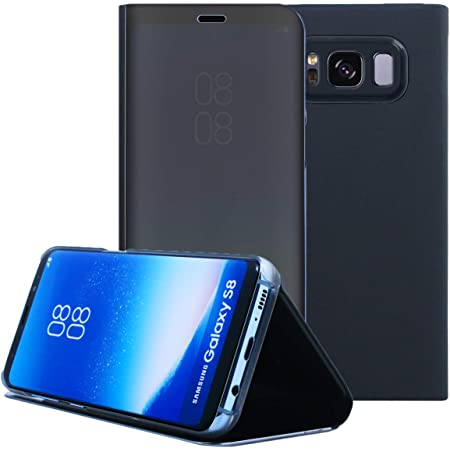 AICase Galaxy S8 Case, Luxury Translucent View Window Sleep/Wake Up Function Cover Mirror Screen Flip Electroplate Plating Stand Full Body Protective Case for Samsung Galaxy S8(Black)