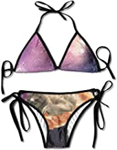 Cool Galaxy Sloth Pizza Bikini Traje de baño de Verano para Mujer Top Triangular Bikinis Traje de baño Conjunto de 2 Piezas