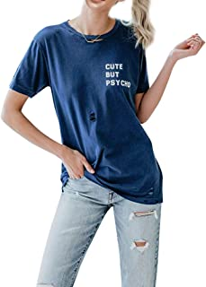 ZJP Women Cute BUT Psycho Letter Print Tees Hollow Out Short Sleeve Shirts Tops