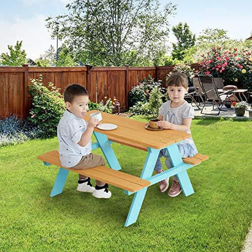 Teamson Kids - Wooden Outdoor Child Children Kids Picnic Table & Chair Bench Set - Wood/Petrol