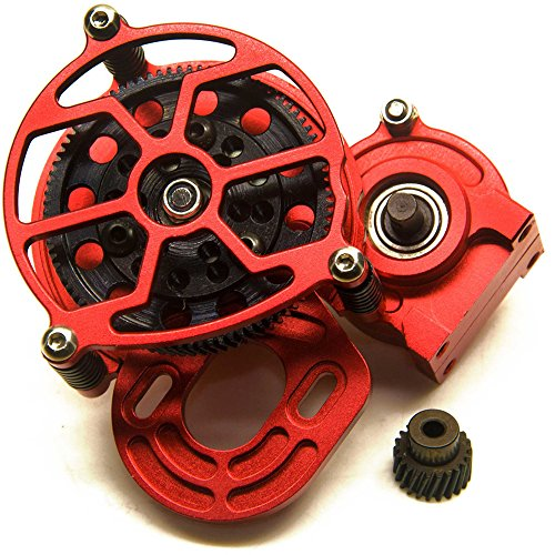 Que-T Aluminum Alloy Center Transmission Case /Gearbox with Helical Gear for 1/10 Axial SCX10 RC Crawler Car (Red)