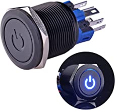 Ulincos Latching Push Button Switch U22A4 1NO1NC SPDT ON/Off Black Metal Shell with Blue LED Suitable for 22mm 7/8