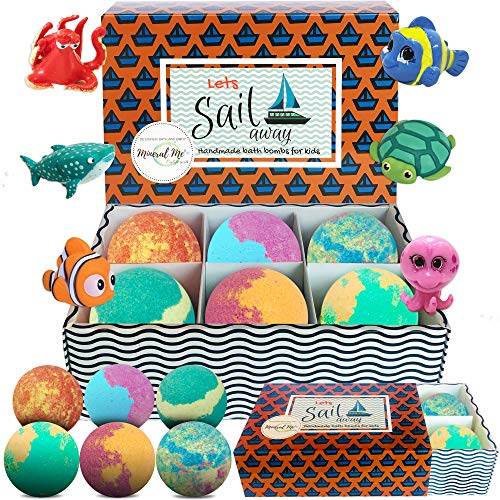 Kids Bath Bombs with Toys Inside - Gentle and Kid Safe, Gender Neutral, Bubble Bath Fizzies with Surprise Inside