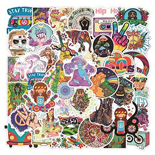 LSPLSP Hippie, pequeño, Fresco, Graffiti, Impermeable, monopatín, Maleta de Viaje, teléfono, portátil, Equipaje, Pegatinas, Lindos Juguetes para niños y niñas, 50 Uds.