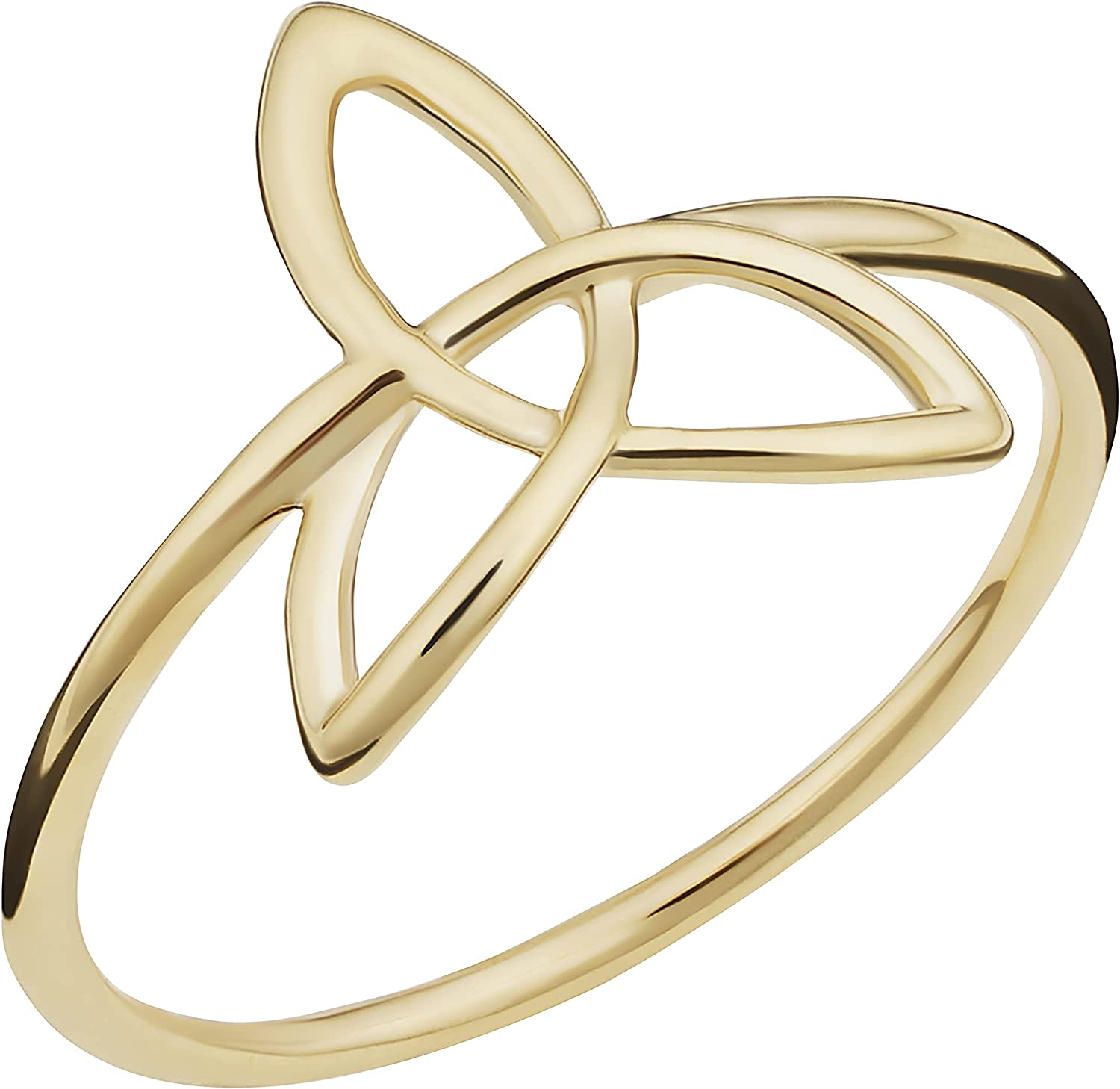 14k Yellow Gold Celtic Trinity Knot Ring for Women