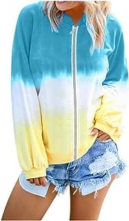 Sweatshirts for Women,Women's Casual Loose Long Sleeve Hoodie Sweatshirt Colorblock Tie Dye Printed Pullover Tops