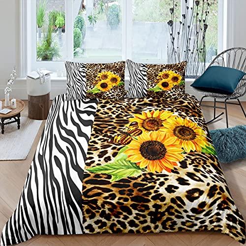 Funda de edredón de leopardo con diseño de guepardo, funda de edredón de girasol para niños y niñas, decoración de habitación floral, ligera, tamaño doble con 2 fundas de almohada