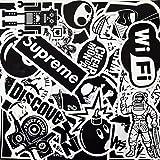 Autocollant Lot [100pcs], AhaSky Stickers Blanc&Noir Imperméable et Suncare, Bumper Bombe Autocollants pour Ordinateur Portable, Enfants, Voitures, Moto, Vélo, Skateboard, Macbook, Valise, Ps4, Xbox
