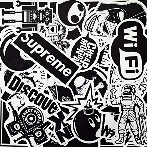 AHABIPERS [100pcs] Aufkleber, Schwarz und weiß Sticker Set Wasserdicht, Stickerbomb für Auto Motorräder Laptop Fahrrad Skateboard Snowboard Gepäck