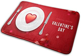 BLSYP Valentines Day Set con corazón Rojo en la Placa Alfombrilla para Puerta Alfombrillas Alfombrilla de Entrada Alfombra...