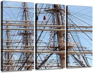 船 帆船 乗り物 帆 マスト 柱 セイル セイルドリル 大型帆船 セーリング 木造船 ヨット 大型 船舶 木造 ロープ 綱 大きいポスター パネル 現代壁の絵 壁掛け 部屋飾り 背景絵画 壁アート 完成品 3枚セット すぐ飾る!