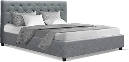 Artiss Queen Bed Frame Fabric with Headboard Grey
