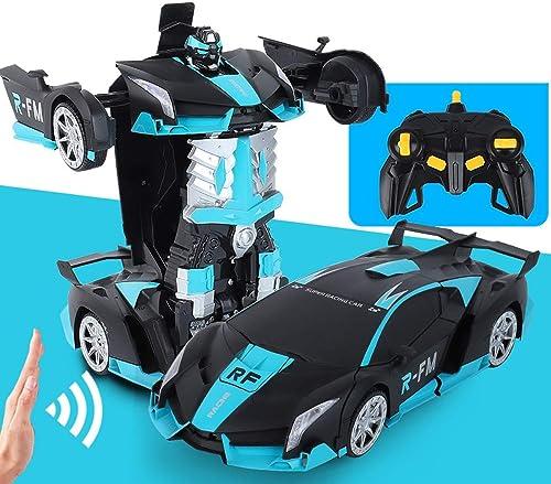 PETRLOY 1 14 skala fernbedienung auto one-button verwandlung spielzeug 2,4 ghz rc auto 360 ° drehen mit gestenabtastung verformungsfunktion aufladbare roboter cars kit spielzeug für kinder Schwarzbla