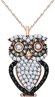 1/3 CT Natural Champagne & White Diamond Owl Pendant Necklace in 14K Gold Over Sterling Silver