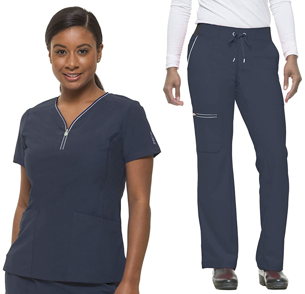healing hands HH360 Sonia 2254 V-Neck Performance Scrub Top/9151 Nisha Yoga Scrub Pant-Pewter-Large/Large