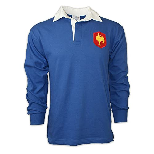 1520e4f61 Men's Classic Embroidered France Rooster Crest Long Sleeve Rugby Shirt