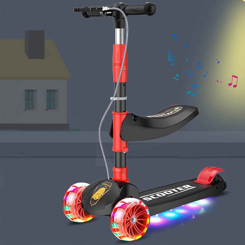 Patinetes para Niños, Scooter de 3 Ruedas Inclinarse para Dirigir con Ruedas PU LED Luces Iluminadas Plegable Patinete Freno Doble con Función de Música para Pequeños Niñas Niños 2 a 12 Años