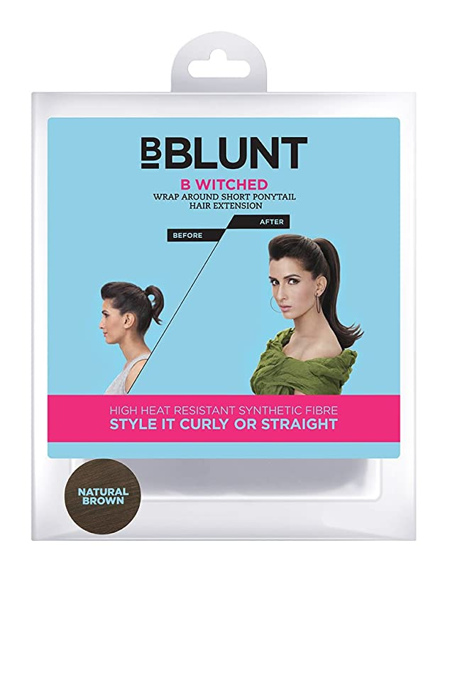 BBlunt B Witched Wrap Around Short Pony Tail Hair Extension, Natural Brown