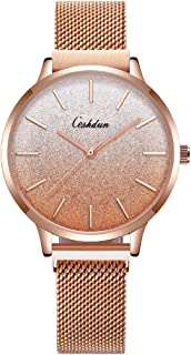 CESHDUN Fashion Watches Sweet Gradient Colors Style Girl Magnetic Metal Mesh Strap Wrist Watch for Women