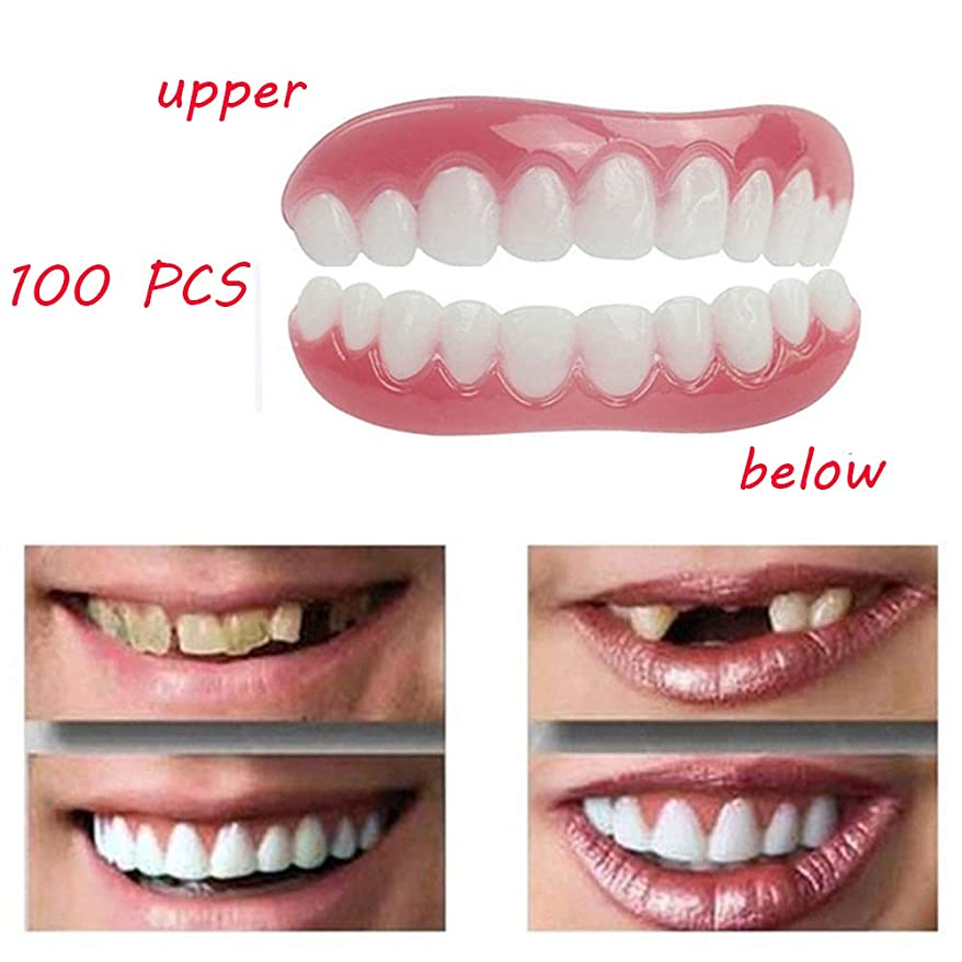 帽子幸運なことに廊下100 PCSホワイトニング義歯上下快適なソフトベニア化粧品ベニヤ歯ほとんどの人に適したサイズ口腔衛生ケア美容ツール
