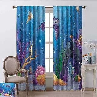 youpinnong Turtle, Curtains Small Window, Underwater World Cartoon Style Illustration Funny Fish Jellyfish Sea Horse, Curtains Kitchen Window, W96 x L96 Inch, Purple Orange Aqua