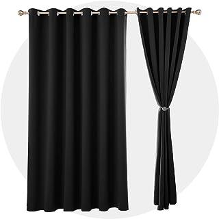 Deconovo Cortinas de Salón para Ventanas Moderna para Habitacion con Ojales 2 Piezas 229 x 229 cm Negro
