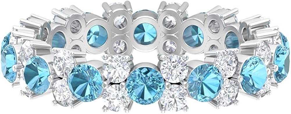 2.69 CT Lab Created Aquamarine Ring HI-SI C and New life Diamond Fees free!!
