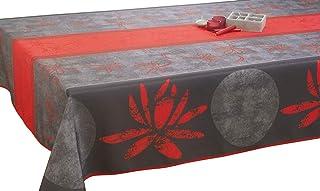 Le linge de Jules Nappe anti-taches Lotus rouge - taille : Rectangle 150x240 cm