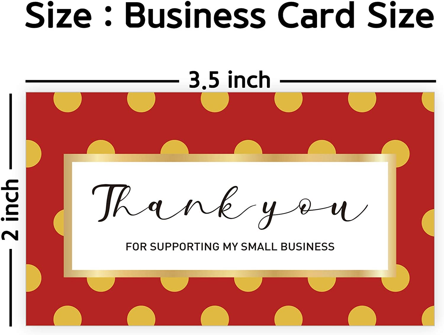 Amazon Com Modern 5th Thank You For Supporting My Small Business Cards Red Polka Dot Design 3 5 X 2 Inches 100 Business Card Sized For Online Retail Store Handmade Goods