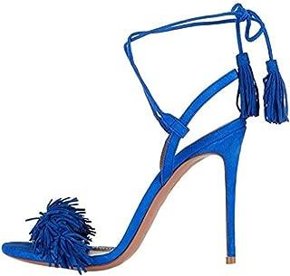 MAVIRS Heeled Sandals for Women, Women's Tassels Sandals Stilettos Slingback Shoes High Heel Dress Sandals