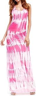 WIWIQS Women`s Tie Dye Ombre Dress Tank Top Casual Maxi Long Dress