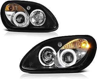 [For 1998-2004 Mercedes-Benz R170 SLK-Class Halogen Model] LED Halo Ring Black Housing Projector Headlight Headlamp Assembly, Driver & Passenger Side