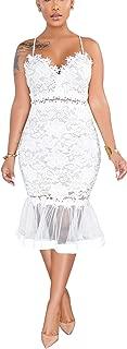 Womens Sexy Lace Dress V Neck Spaghetti Strap Hollow Out Bodycon Midi Skirt
