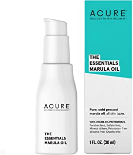 ACURE The Essentials Marula Oil| 100% Vegan| Versatile - For Any Skin & Hair Care Regimen| Pure & Cold Pressed| Proteins & Omega Fatty Acids Rich| For Dry Skin, Split Ends & Squeaky Hinges| 1 Fl Oz